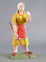 Starlux - the farm - Farmwoman with stick (ochre) (series 75 ref PF12)