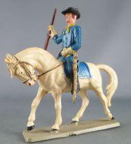 Starlux - Tuniques Bleues - Cavalier fusil en l\'air cheval blanc (réf CTB6)