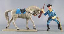 Starlux - Tuniques Bleues - Cavalier fusil en l\'air cheval gris (réf CTB6)