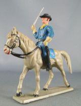 Starlux - Tuniques Bleues - Cavalier sabre en l\'air cheval gris (réf CTB3)