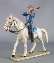 Starlux - Tuniques Bleues - Cavalier tireur fusil cheval gris (réf CTB5)