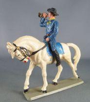 Starlux - Tuniques Bleues - Cavalier Trompette cheval blanc tête baissée (réf CTB4)