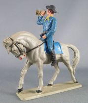 Starlux - Tuniques Bleues - Cavalier trompette cheval gris (réf CTB4)