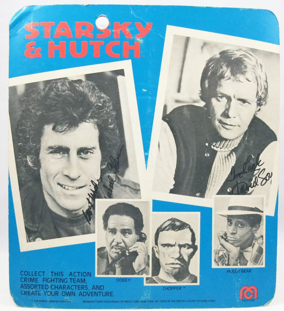 "Starsky & Hutch - 8"" Mego figures set : Starsky, Hutch, Huggy Bear (mint on card)"