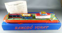 Technofix GE 197 Lemez Hungaria Boxed Automatic Lauder Rakodo Vonat with Mechanical tin Train