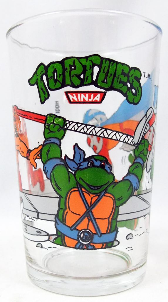 Teenage Mutant Ninja Turtles - Amora drinking glass 1990 - Donnie & Mikey vs. Bebop & Shredder