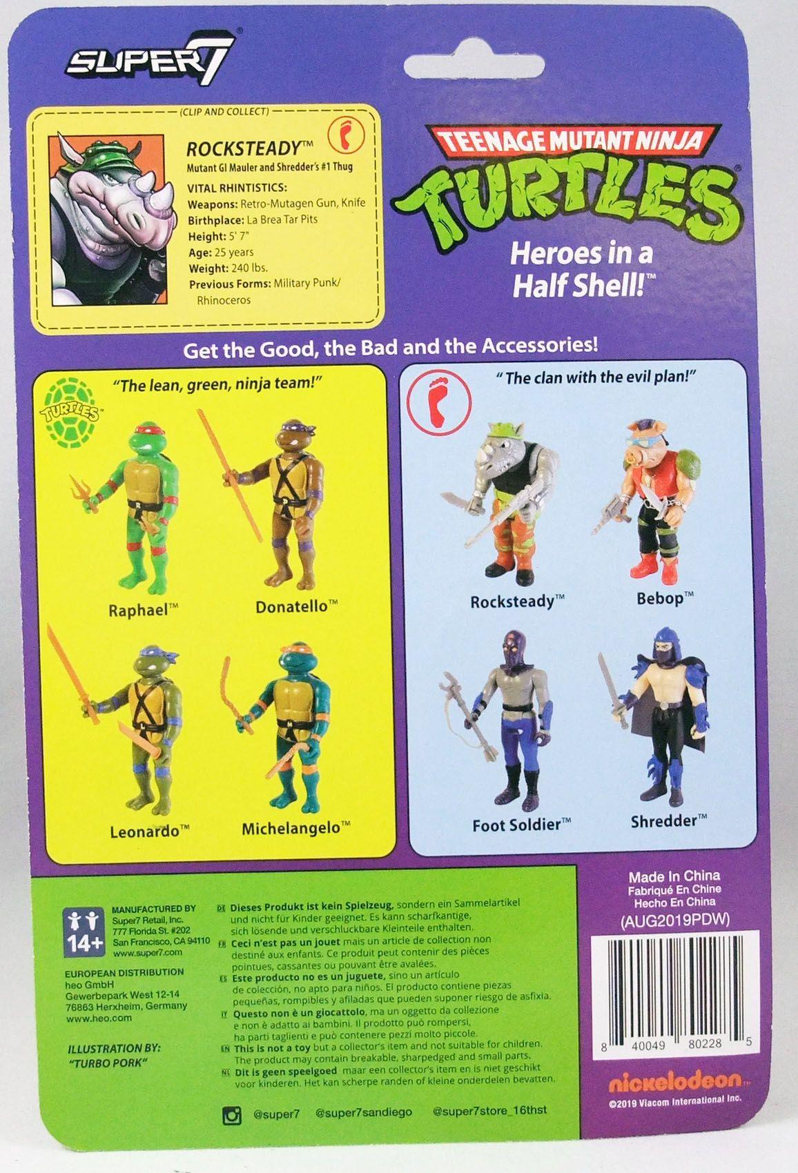 Teenage Mutant Ninja Turtles - Super7 ReAction Figures - Rocksteady