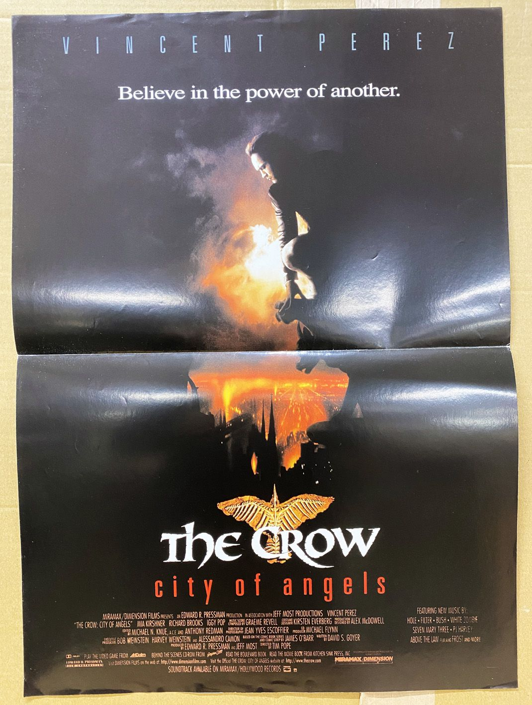 The Crow: City of Angels (Vincent Perez) - Movie Poster 40x60cm - Miramax Films 1996