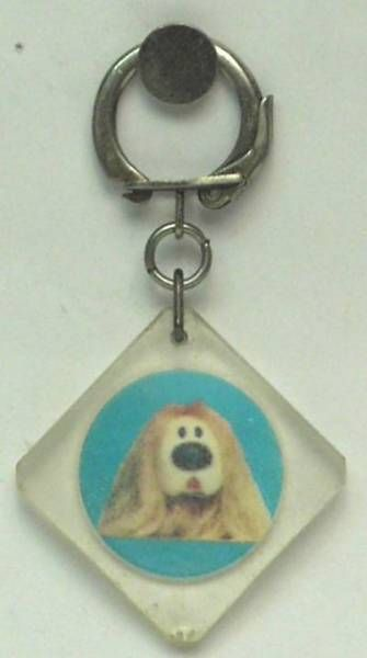 The Magic Roundabout,  square key-chain Dougal blue background
