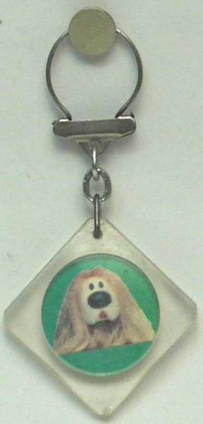 The Magic Roundabout,  square key-chain Dougal green background