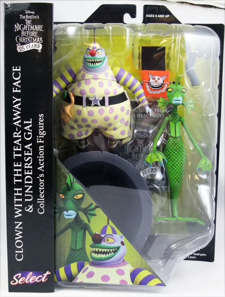 Nightmare Before Christmas Clown With A Tear Away Face.The Nightmare Before Christmas Diamond Select Clown With The Tear Away Face Undersea Gal