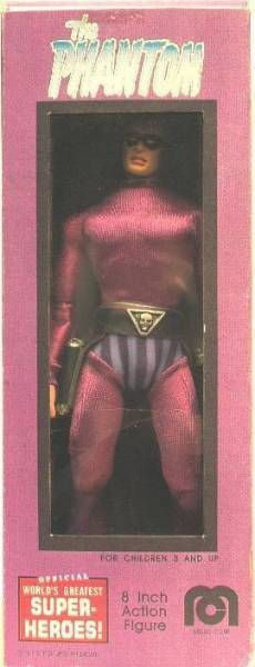 The Phantom (Lee Falk) - Mego Doll type - The Phantom (Flatt World prototype figure) mint in box