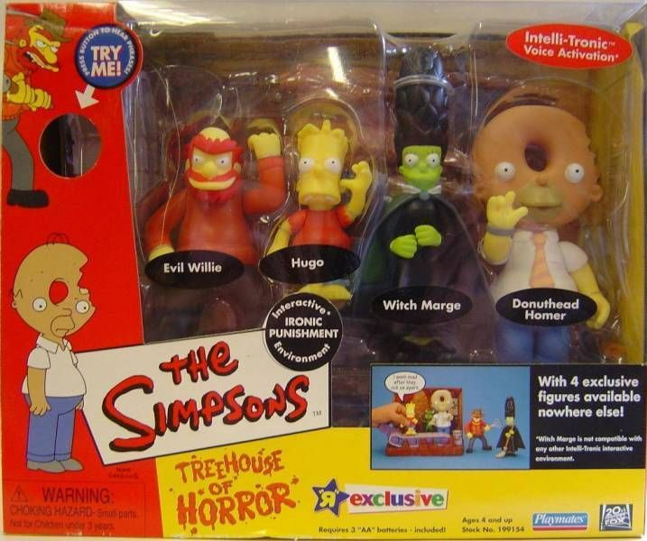 The Simpsons - Playmates - Ironic Punishment with Evil Willie, Hugo, Witch Marge & Donuthead Homer