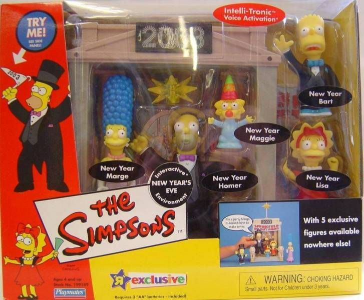 The Simpsons - Playmates - New Year\'s Eve with Bart, Homer, Lisa, Marge & Maggie Simspon