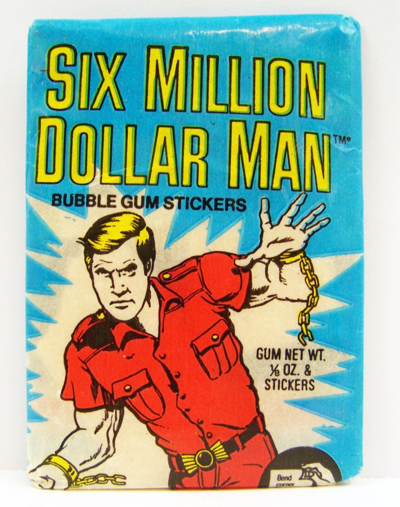 Homme qui valait 3 Milliards - Pochette d\'Autocollants (Bubble Gum Stickers) Donruss 1976 01