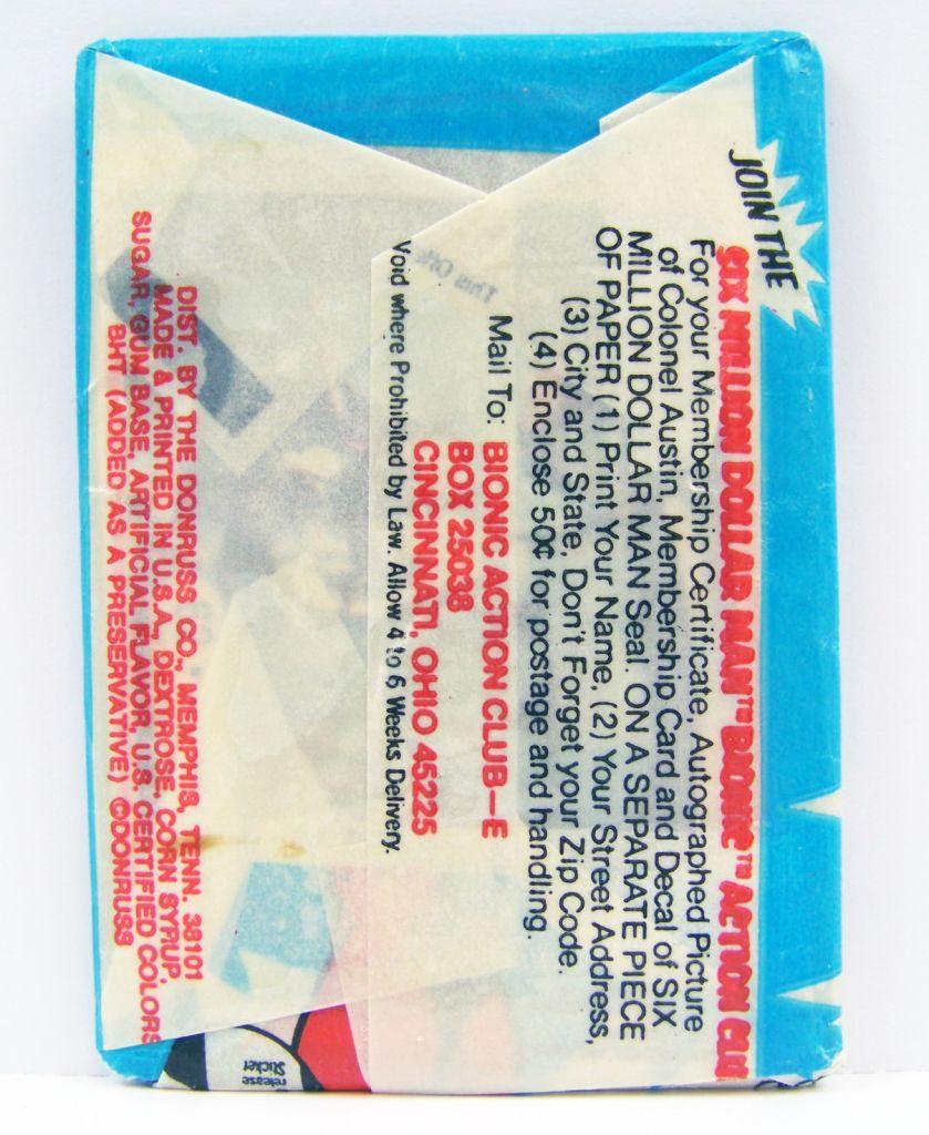 Homme qui valait 3 Milliards - Pochette d\'Autocollants (Bubble Gum Stickers) Donruss 1976 02