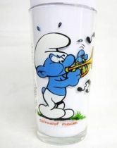 The Smurfs - Mustard glass Maille 1983 - Musician Smurf