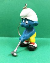 The Smurfs - Schleich - 20055 Golfer Smurf (grey club & ball) Keychain