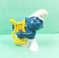 The Smurfs - Schleich - 20070 Harpist Smurf (made in Hong Kong)