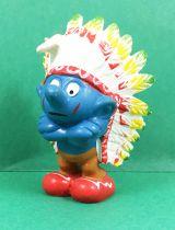 The Smurfs - Schleich - 20144 Indian Chief Smurf (ochre trousers)