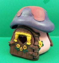 Les Schtroumpfs - Schleich 49014 Schtroumpf - Petite Maison Rose Toit Violet & Mauve (occasion) 01
