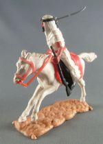 Timpo - Arabes - Cavalier blanc cimeterre & fusil noir pantalon noir ceinture rouge cheval galop long blanc