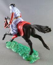 Timpo - Arabes - Cavalier bleu couteau pantalon rouge ceinture doré cheval galop long noir