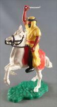 Timpo - Arabes - Cavalier jaune cimeterre pantalon noir ceinture rouge cheval cabré blanc