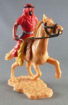 Timpo - Arabes - Cavalier rouge couteau pantalon jaune ceinture grise cheval cabré baie
