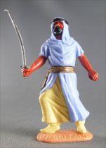 Timpo - Arabes - Piéton bleu ciel (cimetterre) jambes avançantes (robe découvrant la jambe) pantalon jaune