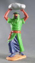 Timpo - Arabes - Piéton variation vert rocher jambes avançantes (robe découvrant la jambe) pantalon bleu