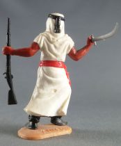 Timpo - Arabs - Footed - White (knife & rifle) advancing legs (robe folding back) black trousers