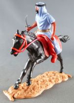 Timpo - Arabs - Mounted - Blue (knife) red trousers (gold belt) black galloping (long) horse sand base
