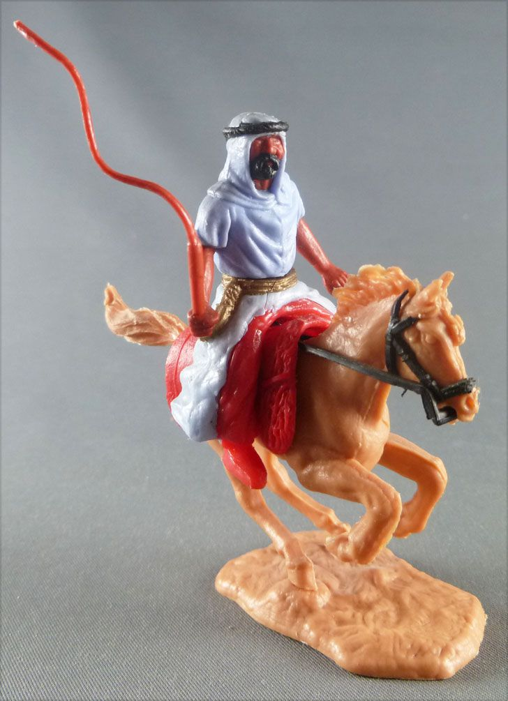 Timpo - Arabs - Mounted - Blue (whip) red trousers (gold belt) light brown galloping (bunched) horse
