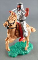 Timpo - Arabs - Mounted - Grey (variation) (scimitar) red trousers (black belt) light brown rearing up horse