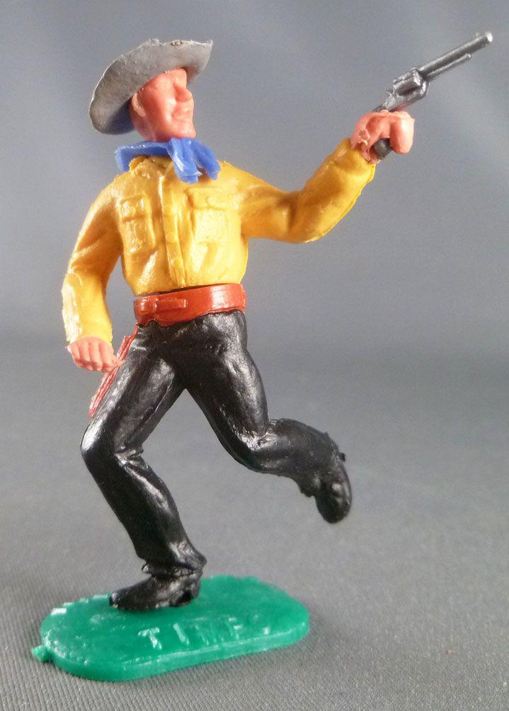 Timpo - Cow-Boys - 2ème Série - Piéton bras droit tendu révolver Chemise jaune courant pantalon noir