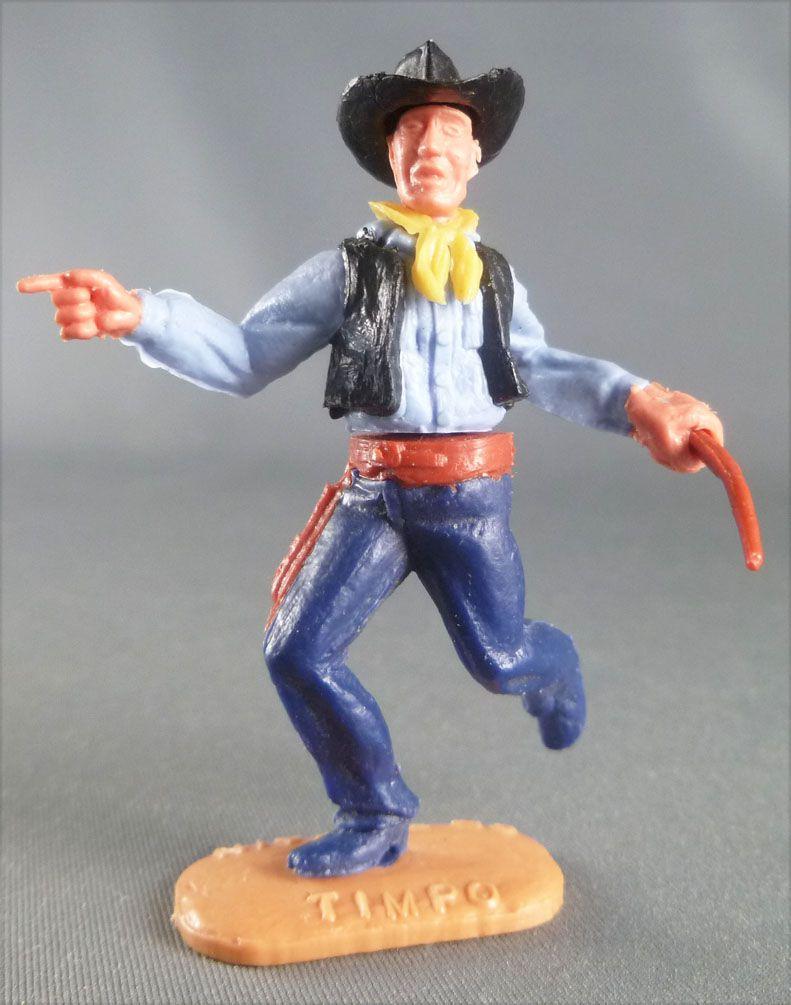 Timpo - Cow-Boys - 2ème Série - Piéton pointant du doigt winchester Chemise bleue Gilet noir courant pantalon bleu foncé
