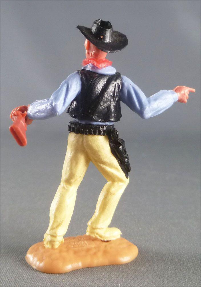 Timpo - Cow-Boys - 2ème Série - Piéton pointant du doigt winchester Chemise bleue Gilet noir jambes avançantes jaune