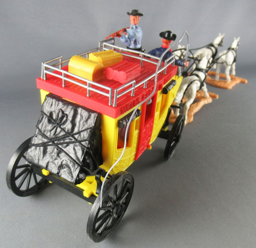 Timpo - Cow-Boys - Wild West Vehicles Series Overland StageCoach 4 White Horses Near Mint in Box (ref 444) 1
