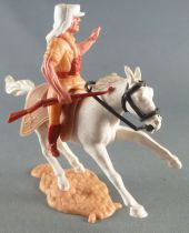 Timpo - Légion Etrangère - Cavalier bras gauche levé (fusil) cheval blanc galop court socle sable