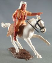 Timpo - Légion Etrangère - Cavalier doigt pointé (fusil) cheval blanc galop court socle brun