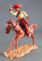 Timpo - Mexicains - Cavalier (ceinture séparée) bras droit levé veste jaune (révolver) pantalon rouge sombrero rouge cheval marr