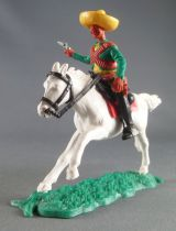 Timpo - Mexicains - Cavalier ceinture moulée bras droit tendu veste verte révolver pantalon noir sombrero jaune cheval blanc