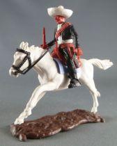 Timpo - Mexicains - Cavalier ceinture moulée bras gauche en bas veste noire winchester & révolver pantalon noir sombrero blanc