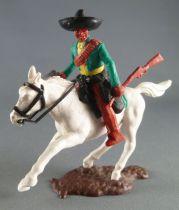 Timpo - Mexicains - Cavalier ceinture moulée bras gauche en bas veste verte winchester & révolver pantalon marron sombrero noir