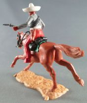 Timpo - Mexicains - Cavalier ceinture séparée 2 mains à hauteur de la taille veste grise 2 révolvers pantalon rouge sombrero bla