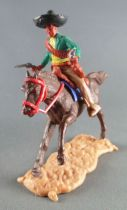 Timpo - Mexicains - Cavalier ceinture séparée 2 mains à hauteur de la taille veste verte 2 révolvers pantalon crème sombrero noi