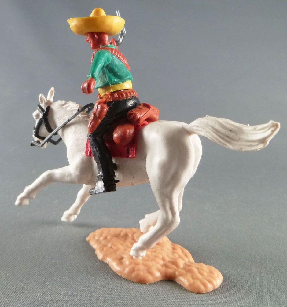 Timpo - Mexicains - Cavalier ceinture séparée bras droit levé veste verte révolver pantalon noir sombrero jaune cheval blanc