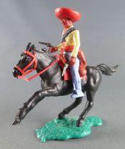 Timpo - Mexicains - Cavalier ceinture séparée bras gauche en bas veste jaune 2 révolvers pantalon bleu sombrero rouge cheval noi