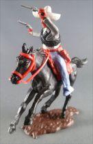 Timpo - Mexicains - Cavalier ceinture séparée bras gauche levé veste grise 2 révolvers pantalon bleu sombrero blanc cheval noir
